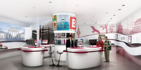 Counter im Berlin Brandenburg WelcomeCenter am Flughafen BER