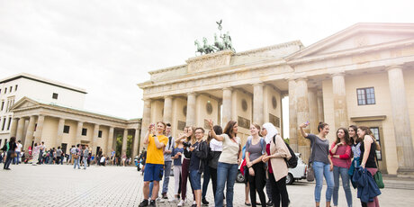 Class trip at the Brandenburg Gate in Berlin