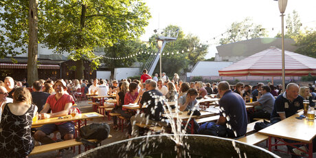 Prater beer garden in Berlin in summer