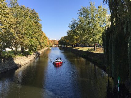 A boat on the water in autumn in Berlin