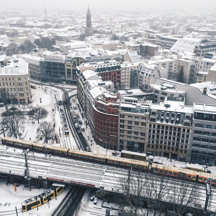 The city pictured from above during winter