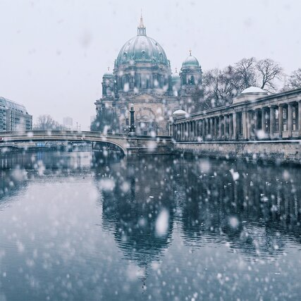 Berlin Cathedral in winter with snow