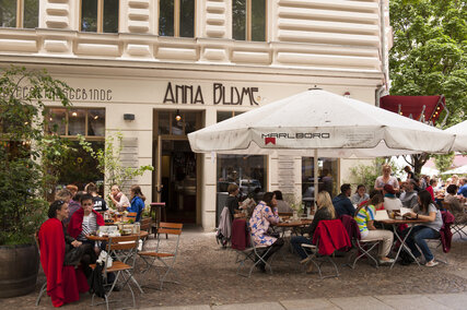 "terace and entry of the café ""Anna Blume"""