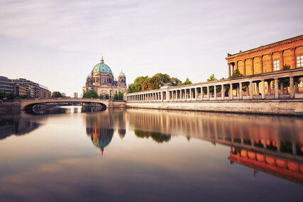 Berlin Cathedral with Museum Island in Berlin seen from river Spree