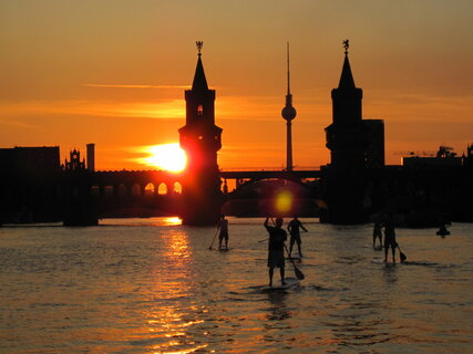 Stand Up Paddling on the river Spree