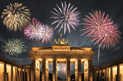 Fireworks at New Years Eve at Brandenburg Gate in Berlin