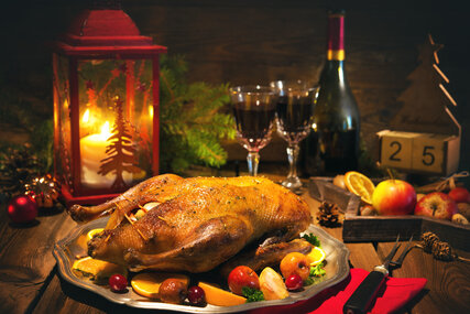 Christmas table set with goose roast
