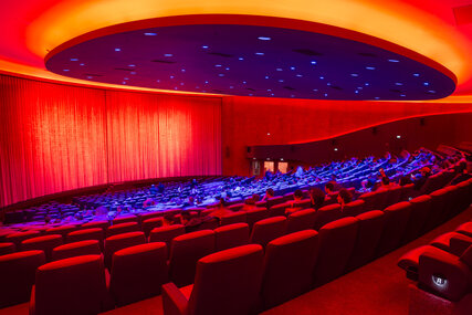 Cinema auditorium in Zoopalast with red lighting