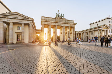 The Berlin landmark Brandenburg Gate in sunlight