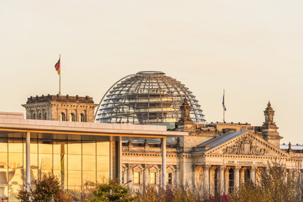 Dome of the Berlin Reichstag sight in warm light