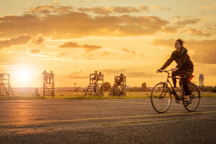 a cyclist on the Tempelhof Field