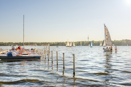 Boats on lake Wannsee in Berlin