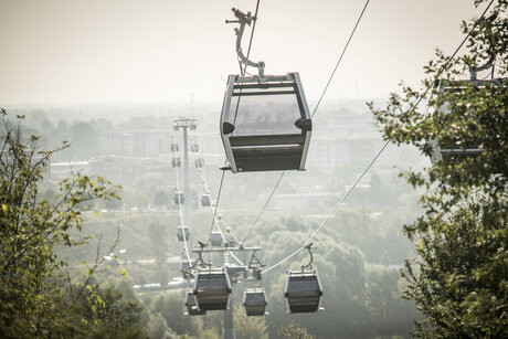 IGA Berlin 2017: cableway at the Gardens of the World Marzahn