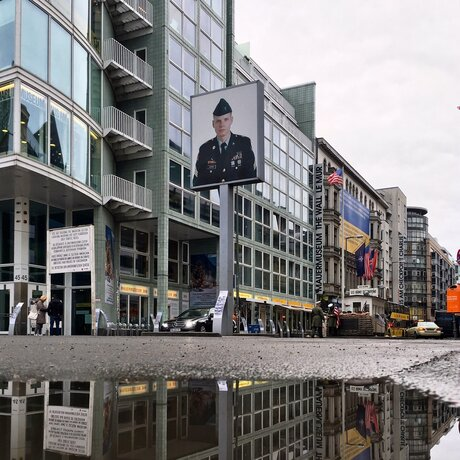 View of Checkpoint Charlie at Berlin Friedrichstraße