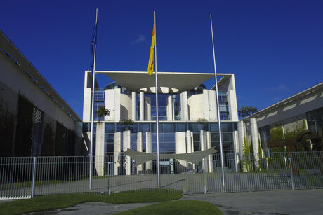 Flags in front of the German Chancellery