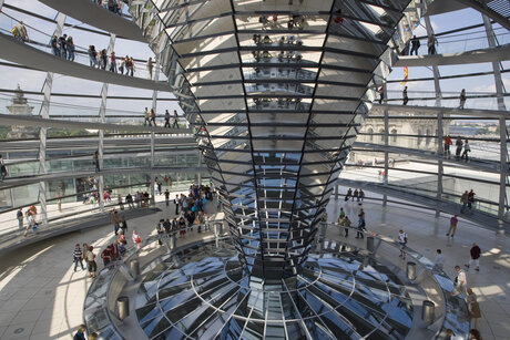 View of the dome in the Reichstag in Berlin