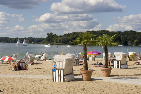 Beach and swimming Strandbad Wannsee in Berlin