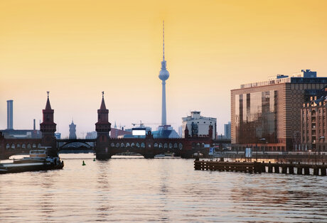 Berliner TV Tower behind the river Spree
