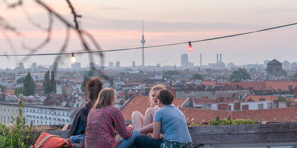 The roof terrace Klunkerkranich with a view over Berlin
