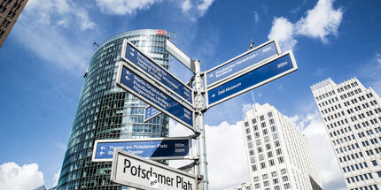 Signposts at Potsdamer Platz in Berlin
