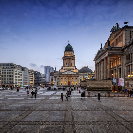 Evening atmosphere at the Gendarmenmarkt in Berlin