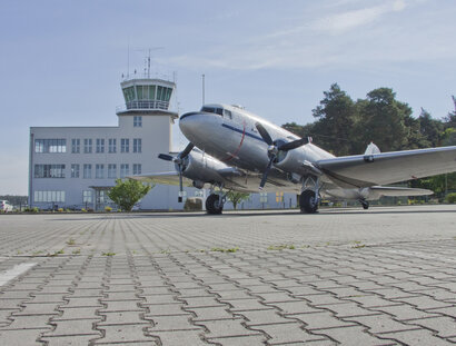 Plane infront of The Military History Museum at airport Gatow in Berlin