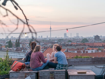 The roof terrace Klunkerkranich with a view over Berlin-Neukööln