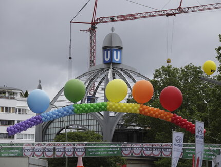 balloons in rainbow colours at the Lesbian and Gay City festival in Berlin