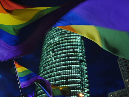 rainbow-coloured flags at Potsdamer Platz