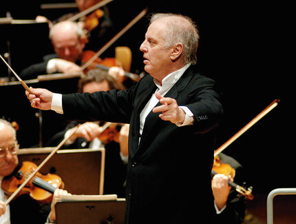 Daniel Barenboim with Staatskapelle orchestra in the Staatsoper in Berlin