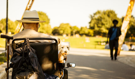 Parks & Gardens ACCESSIBLE - a men is sitting in a wheelchair with his dog