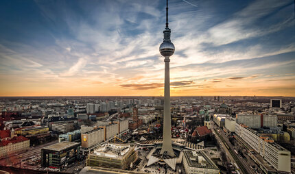 TV tower in Berlin at sunset
