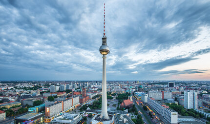 Berlin TV Tower with Berlin-Panorama.