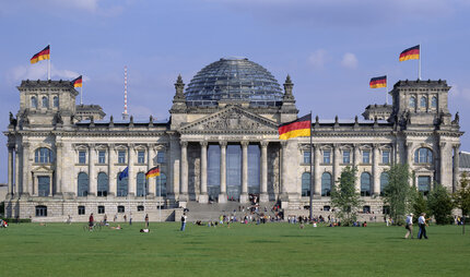 Flapping flags on the Reichstag in Berlin