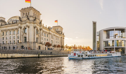 Sightseeing trip on the Spree in the government quarter Berlin-Mitte